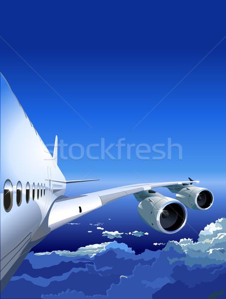 Jato céu azul viajar avião linha do horizonte Foto stock © mechanik