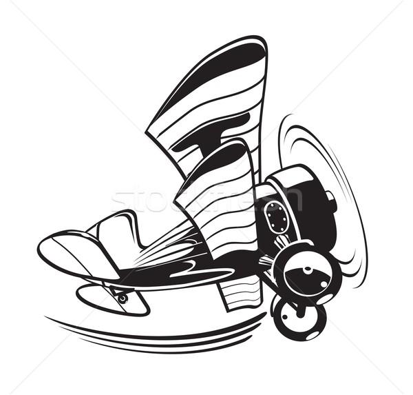 Vektor rajz kétfedelű repülőgép eps8 formátum rétegek Stock fotó © mechanik