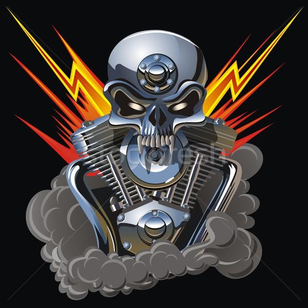 metall skull with engine Stock photo © mechanik