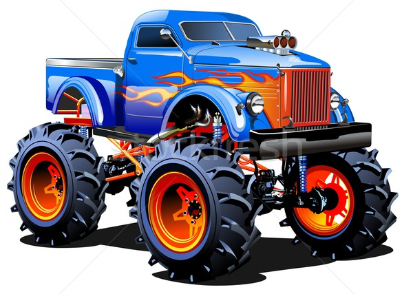 cartoon monster truck vector illustration mechanik 5138761