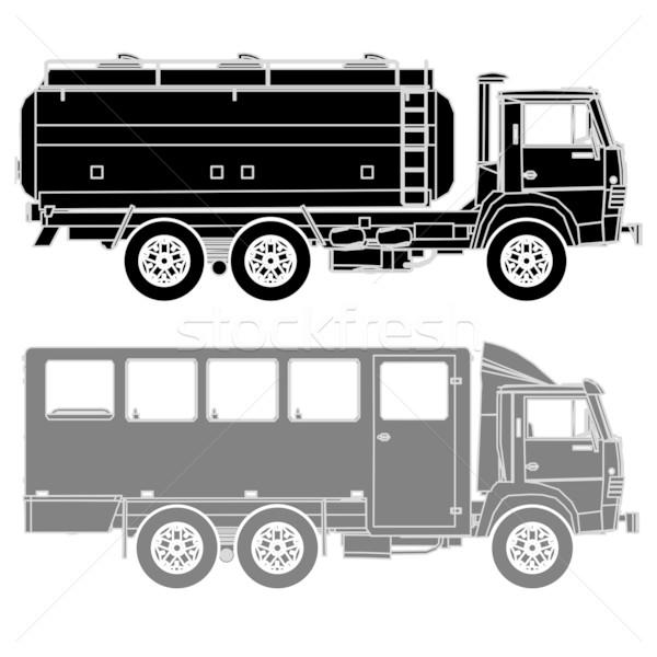 Stock photo: Detailed Vector trucks silhouettes set