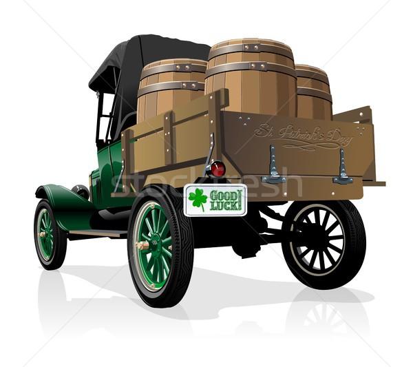 Vektör aziz bağbozumu bira kamyon mutlu Stok fotoğraf © mechanik