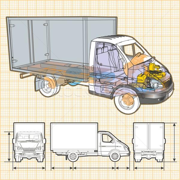 Vecteur livraison fret camion infographie Photo stock © mechanik