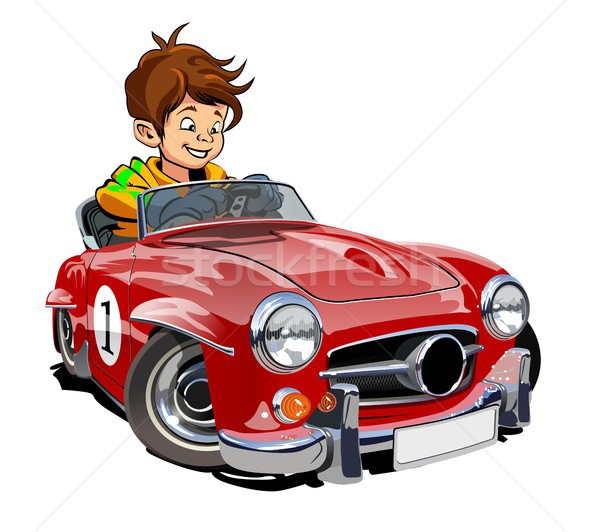 Cartoon ретро автомобилей драйвера вектора спорт Сток-фото © mechanik