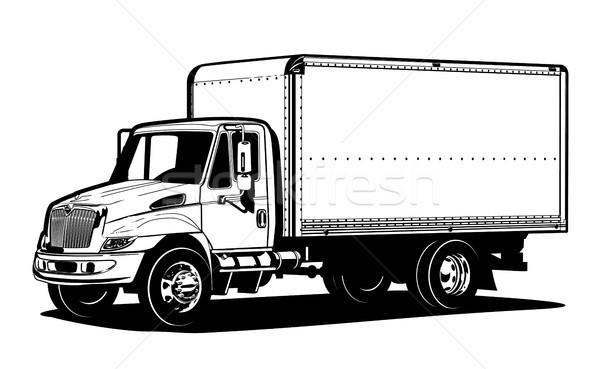 ストックフォト: ベクトル · トラック · テンプレート · 孤立した · 白