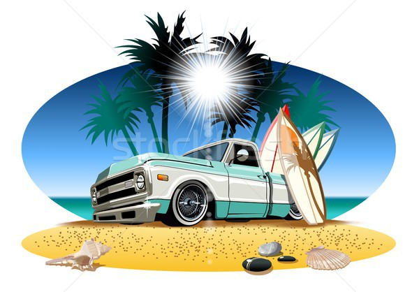 Cartoon retro camper pickup Stock photo © mechanik