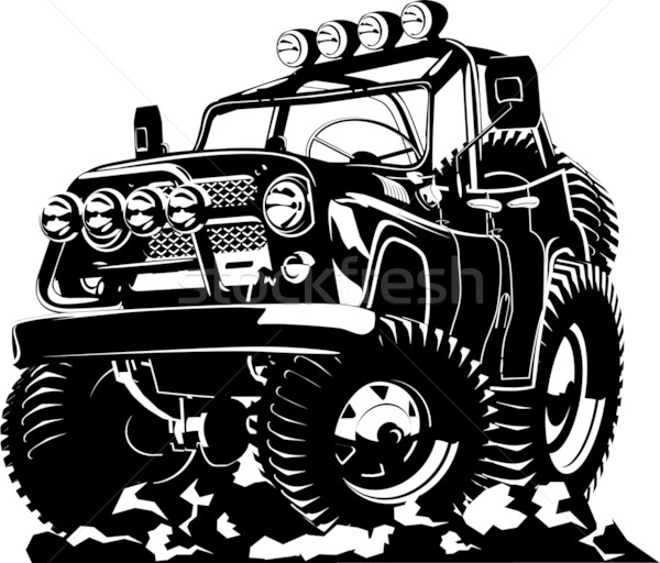 Cartoon jeep geïsoleerd witte vector formaat Stockfoto © mechanik