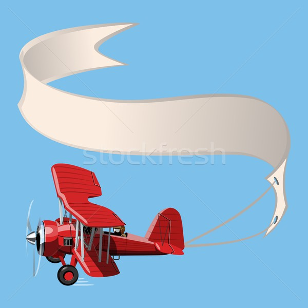 Stock photo: Cartoon Biplane with banner
