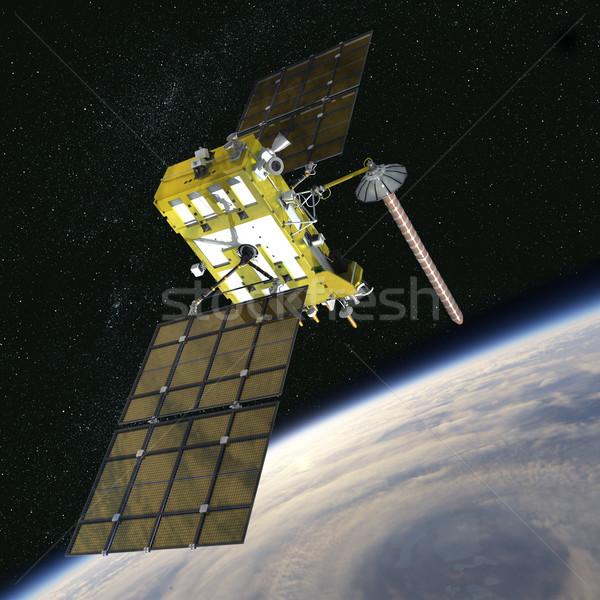 Modern navigáció műhold számítógép művészet arany Stock fotó © mechanik