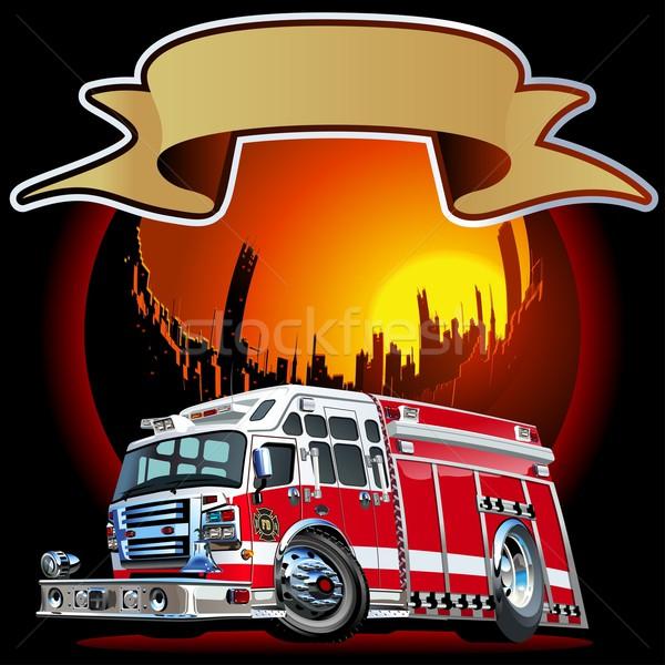ストックフォト: ベクトル · 漫画 · 消防車 · eps10 · フォーマット · グループ