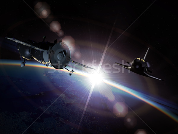Spaceships on the orbit Stock photo © mechanik