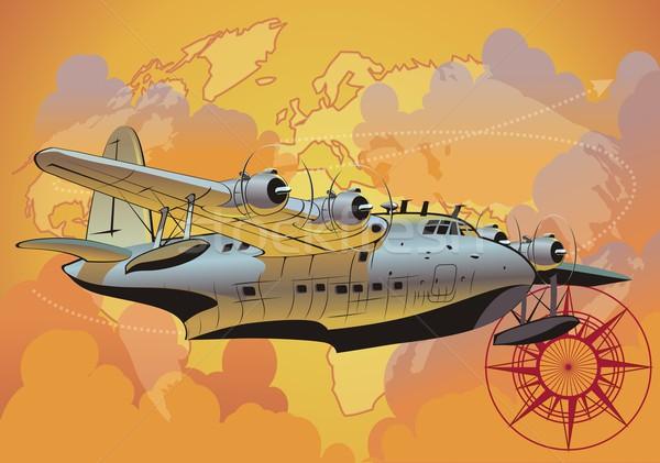 Retro watervliegtuig wereldbol kaart zomer kompas Stockfoto © mechanik