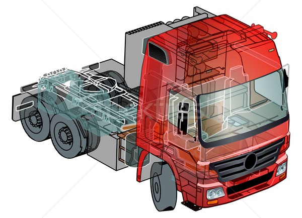 Stock photo: Vector semi-truck infographics cutaway