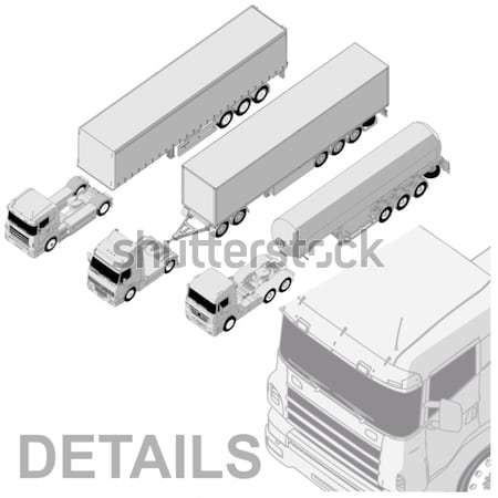Stock photo: 	Vector semi-truck set