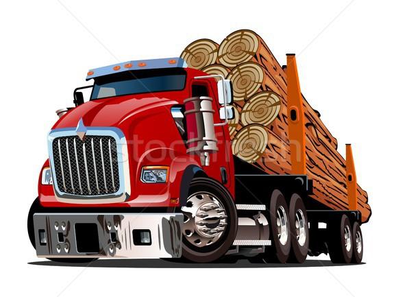 Cartoon logging truck Stock photo © mechanik