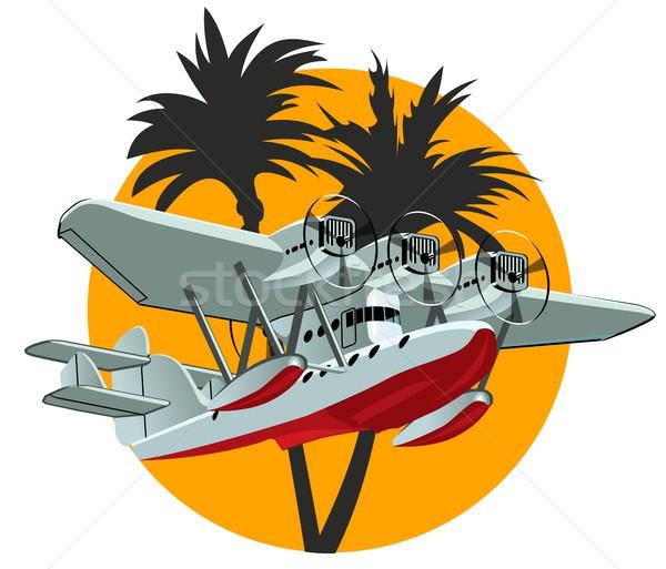 Cartoon retro zee vliegtuig vector eps10 Stockfoto © mechanik