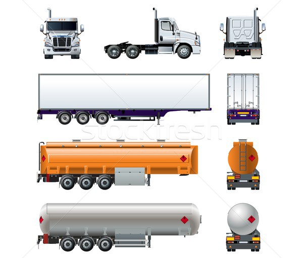 Vector realistic semi truck mockup set isolated on white Stock photo © mechanik