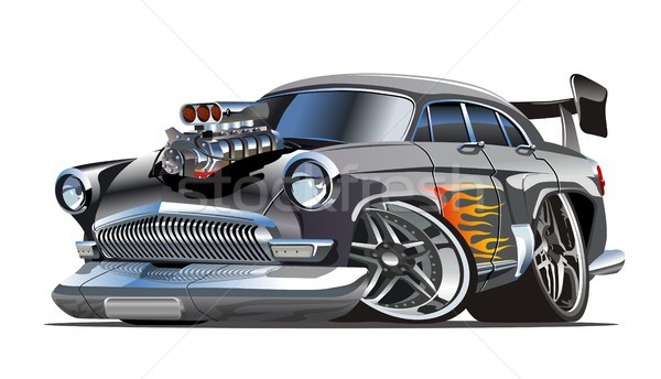 Stock photo: Cartoon retro hot rod