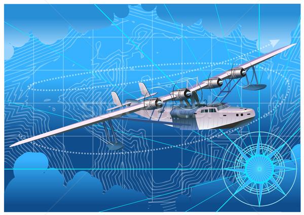 Retro watervliegtuig hemel wereldbol kaart zomer Stockfoto © mechanik