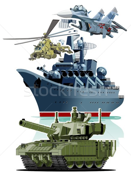 Set of cartoon military equipment Stock photo © mechanik