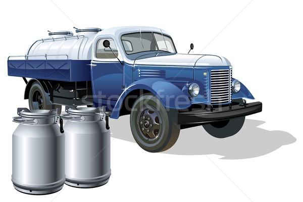 Vector retro delivery milk tanker truck Stock photo © mechanik