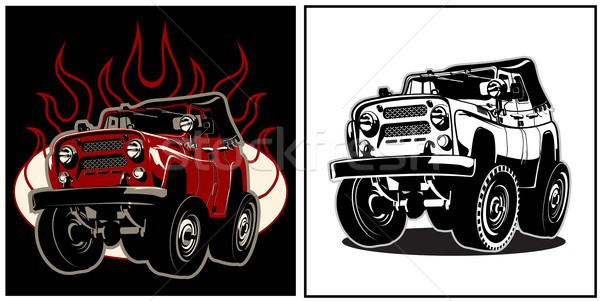 Cartoon 4x4 auto af weg eps8 Stockfoto © mechanik