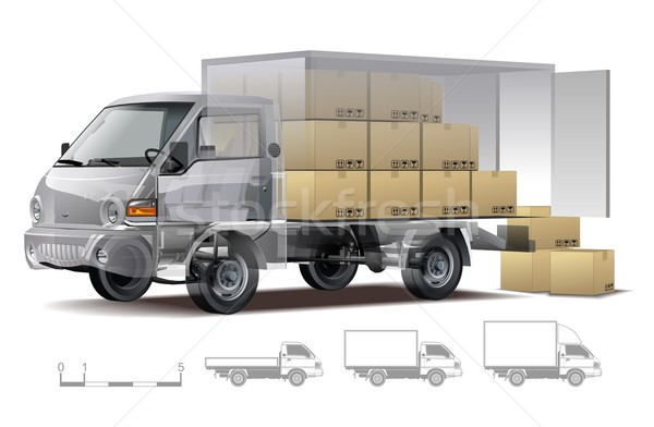 Vector delivery / cargo truck infographics cutaway Stock photo © mechanik
