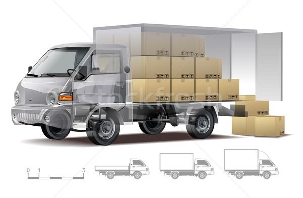 Vektor házhozszállítás teher teherautó infografika zsakett Stock fotó © mechanik