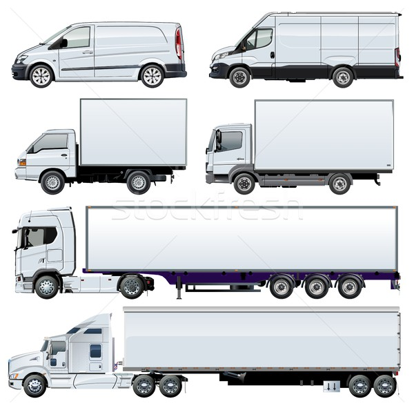 Stock photo: Vector trucks template isolated on white