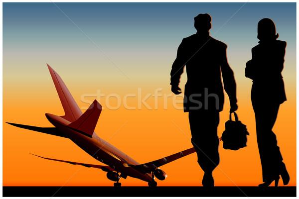 Landingsbaan vrouw man zon technologie zomer Stockfoto © mechanik