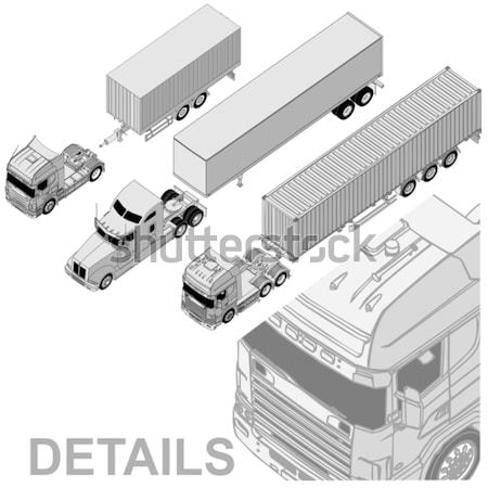 Vector semi-truck set Stock photo © mechanik