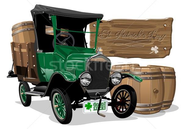 Vector Saint Patrick's vintage cartoon beer truck Stock photo © mechanik