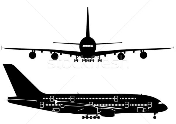 Jato silhuetas céu projeto arte aeroporto Foto stock © mechanik