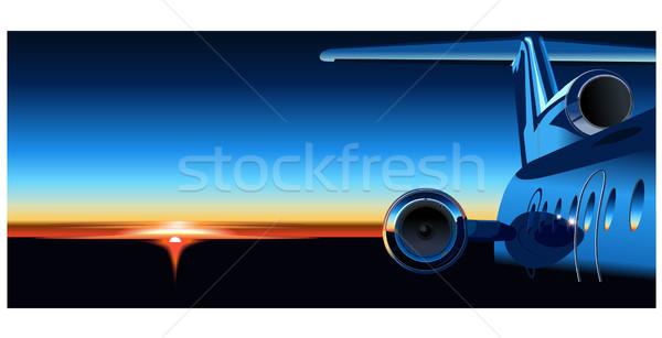 Avião nascer do sol negócio céu azul linha do horizonte Foto stock © mechanik