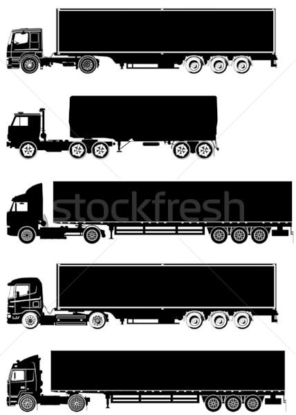 Photo stock: Vecteur · détaillée · camions · silhouettes · affaires