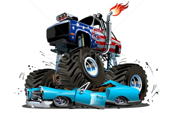 Vector cartoon monster vrachtwagen eps10 groepen Stockfoto © mechanik