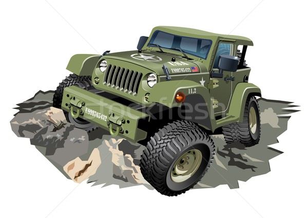 вектора Cartoon 4x4 автомобилей военных eps10 Сток-фото © mechanik