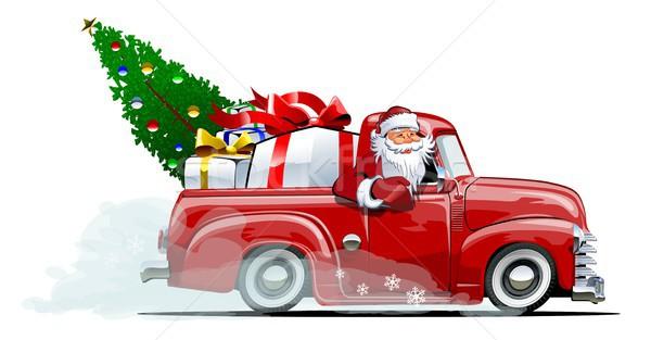 Rajz retro karácsony házhozszállítás eps10 vektor Stock fotó © mechanik