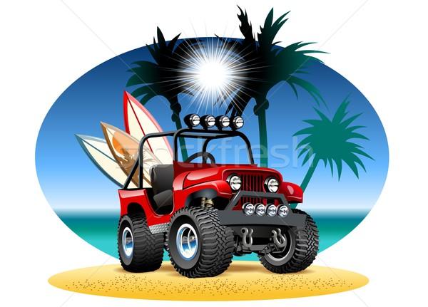 вектора Cartoon 4x4 автомобилей пляж eps10 Сток-фото © mechanik