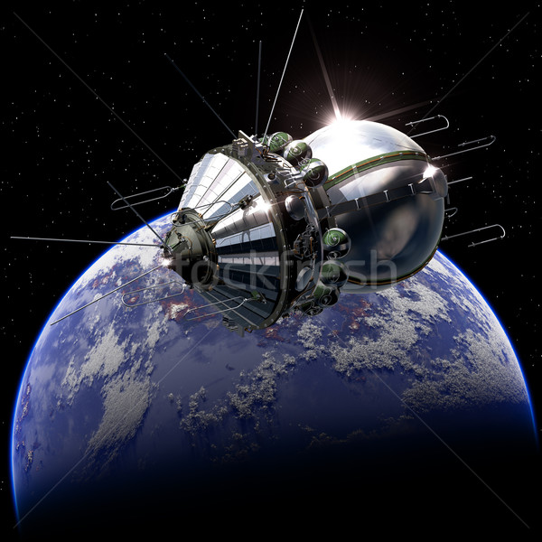 First spaceship on the orbit Stock photo © mechanik