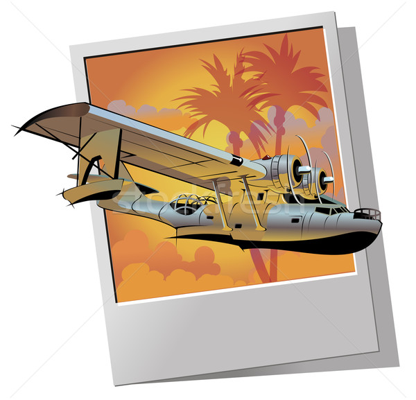 Retro watervliegtuig landschap zomer oranje zonsopgang Stockfoto © mechanik