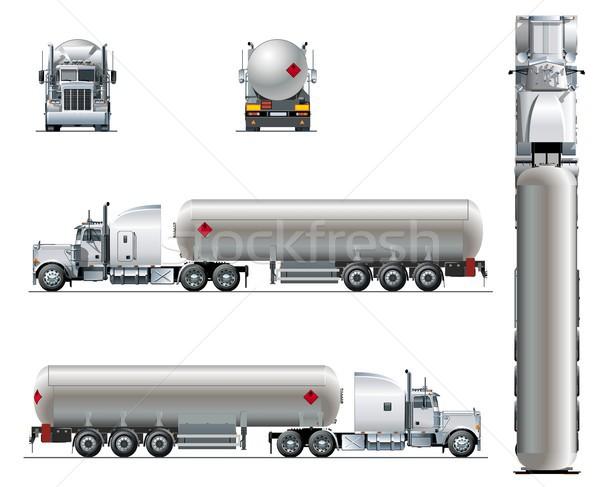 Stock fotó: Vektor · valósághű · teherautó · sablon · izolált · fehér