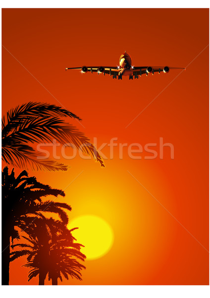 Airliner at sunset Stock photo © mechanik