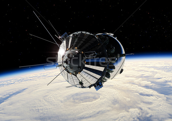 The first spaceship at the Earth orbit Stock photo © mechanik
