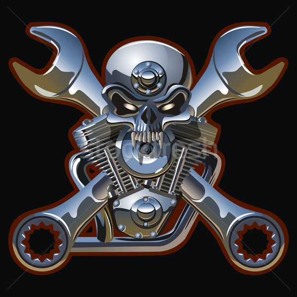 metall skull with engine Stock photo © mechanik