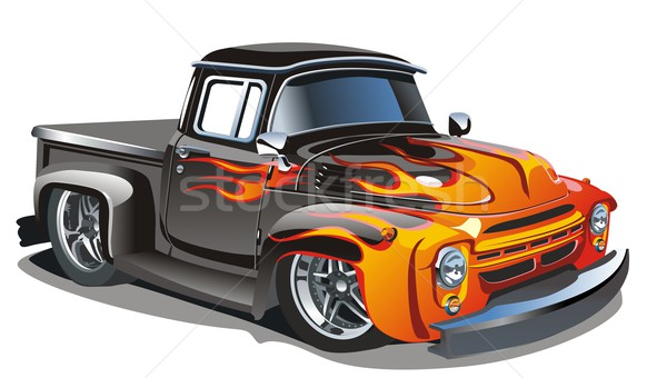 Stock photo:  	Vector retro cartoon hotrod