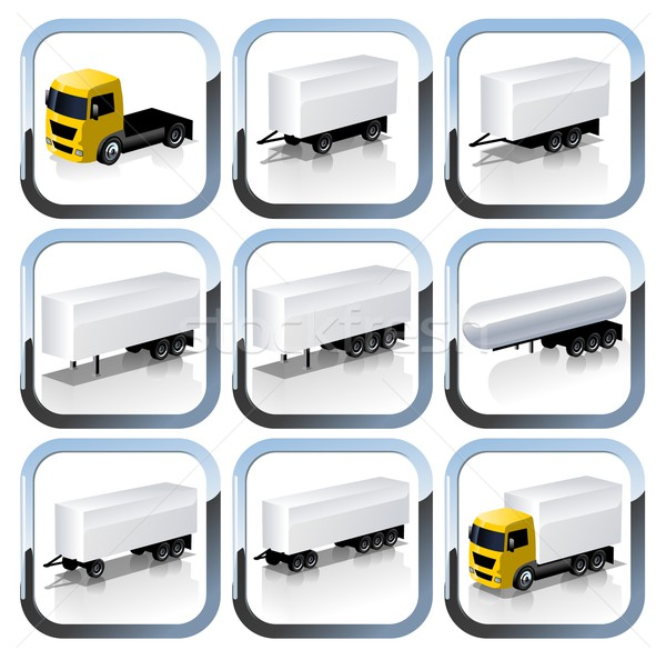 Truck Trailaers Icons Set Stock photo © mechanik