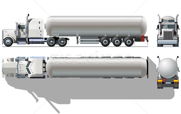 Stock photo: Vector hi-detailed tanker semi-truck