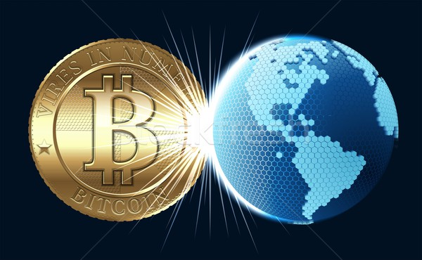 Bitcoin munt digitale wereld wereldbol kaart Stockfoto © mechanik