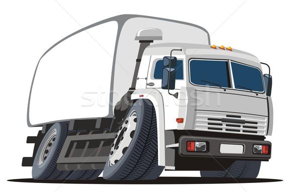Foto stock: Vetor · desenho · animado · entrega · carga · caminhão · eps8